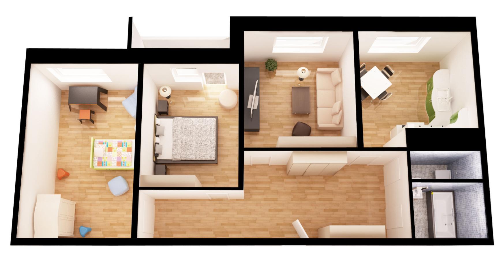 трехкомнатная квартира в новостройке